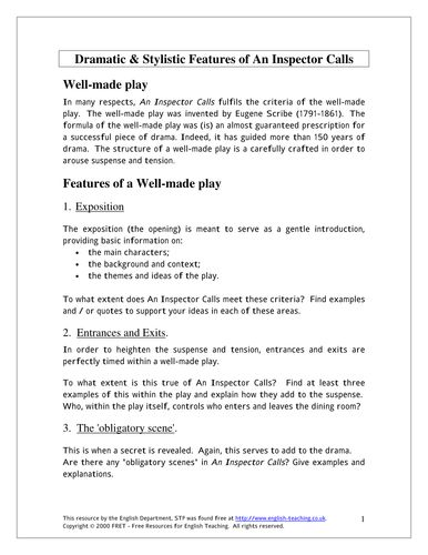 An Inspector Calls by J. B. Priestley: Worksheets and tasks
