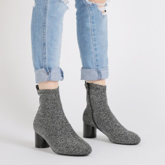 Amani Shimmer Sock Fit Ankle Boots in Silver | Public Desire $52.99
