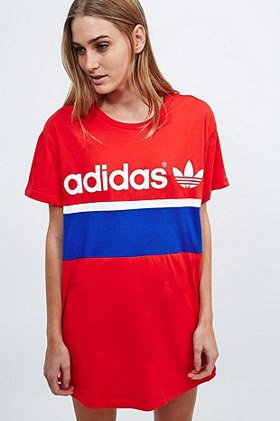 Adidas jersey dress red