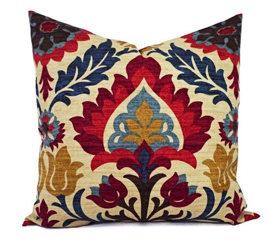 Two stunning navy blue, red, gold and beige floral pillow covers. These decorative pillow covers fit a 20 x 20 inch pillow insert and are 100%
