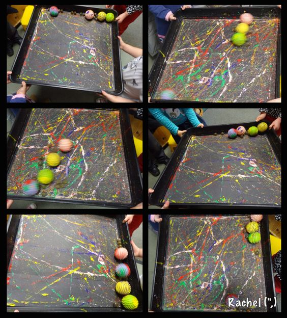 """Collaborative paint-covered marble and ball rolling - from Rachel ("""",)"""