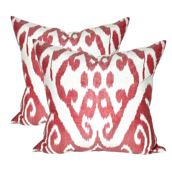 Set of 2 Red and White Ikat pillow covers 19 X by EasternHomeDecor, $40.00