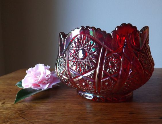 Indiana Glass Hobstar and Arches Rose.