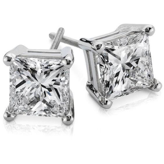 blue nile princess cut diamond earrings in platinum 3 ct. Black Bedroom Furniture Sets. Home Design Ideas