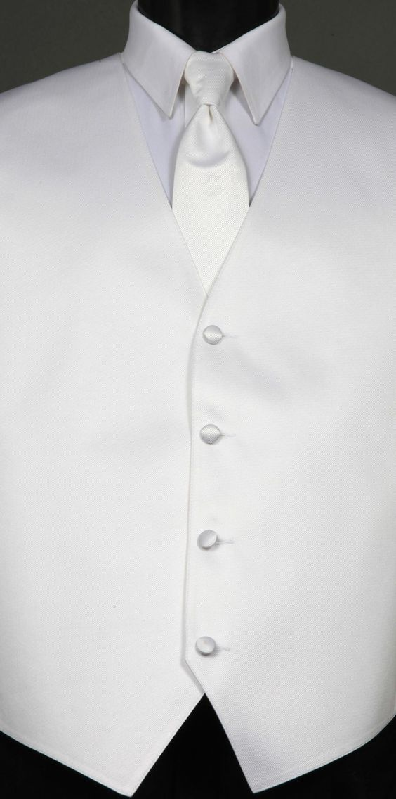 White Savvi Solid, Solid Tie  by Savvi Evening Collection