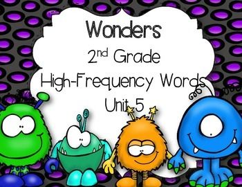 This+was+made+to+go+along+with+the+McGraw-Hill+Wonders+2nd+Grade+Reading+Series+but+can+be+used+by+everyone.+This+is+a+game+using+the+50+high-frequency+words+introduced+in+Unit+5.+Each+word+is+written+on+a+card.+The+children+pull+out+a+card+and+read+the+word.
