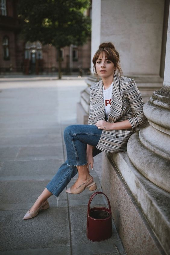 checked blazer for fall, casual outfit ideas