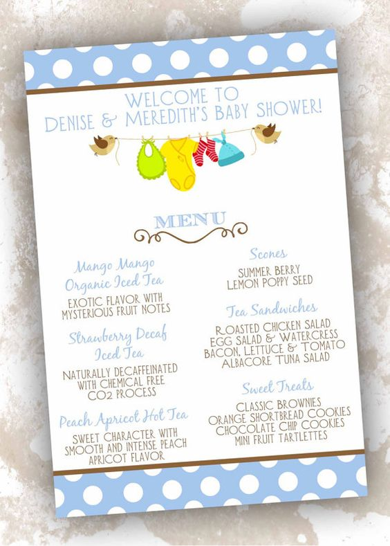 menu cards clotheslines showers baby shower menu baby showers cards