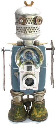 old blue eye - robot sculptures made from recycled parts. There's heaps. I'll pin a couple more.