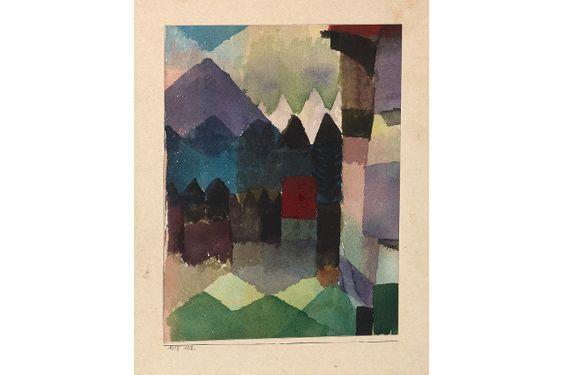 Paul Klee: Föhn Wind in Franz Marc's Garden, 1915, 102  Watercolour on paper and panel, 20 x 15 cm  Städtische Galerie im Lenbachhaus und Kunstbau, Munich