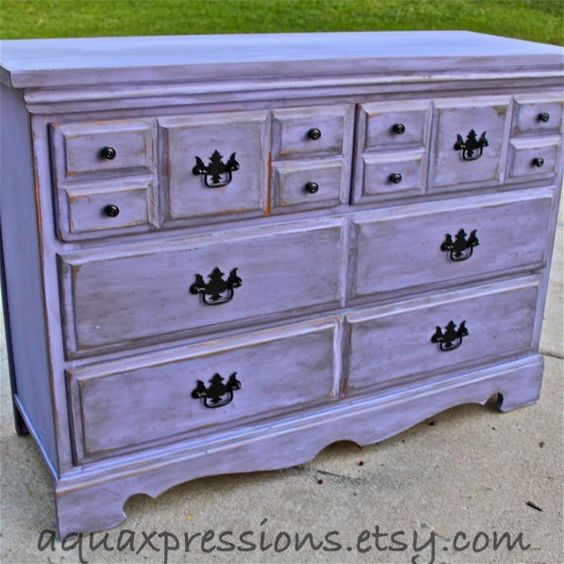 Lilac Purple Vintage Dresser Buffet Bedroom Furniture Distressed Black Dr