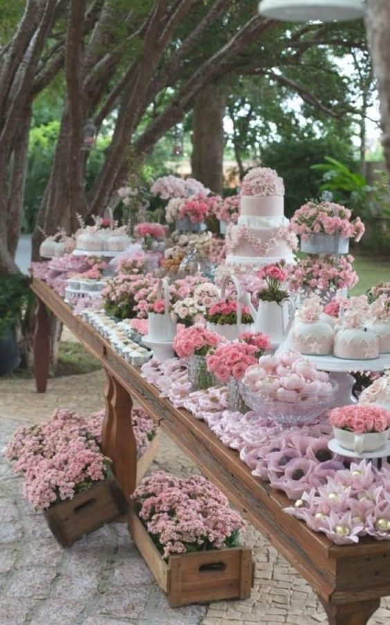 Your dessert table can become a wow factor with minimal fuss and a small budget. So, here are some ideas to decorate your dessert table easily and in a stylish way. Draws of flowers. Put your bouquets (and your bridesmaids bouquets) to good use after your aisle decent.