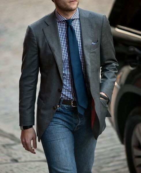 Grey Jacket, blue shirt, tie, and jeans | men outfits | Pinterest ...