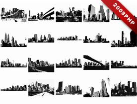 City Black Silhouette Vector Material To Download The Paper-cut Class EPS
