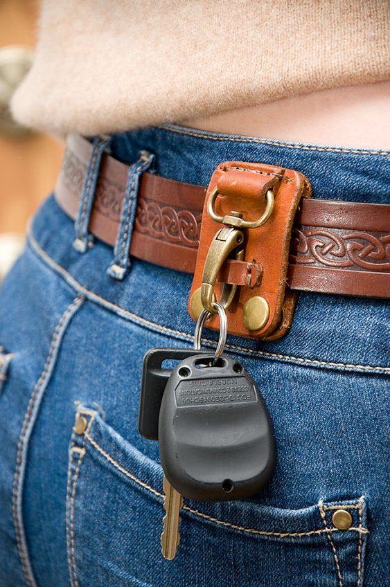 Blue Real Leather Key Holder Key Ring Belt Loop Accessory Hook Belt clip F1