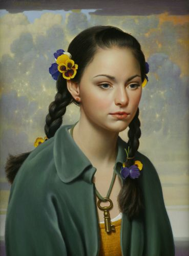 """""""Mary"""" - Will Wilson, realist, oil on canvas {contemporary artist figurative realism woman portrait painting}"""