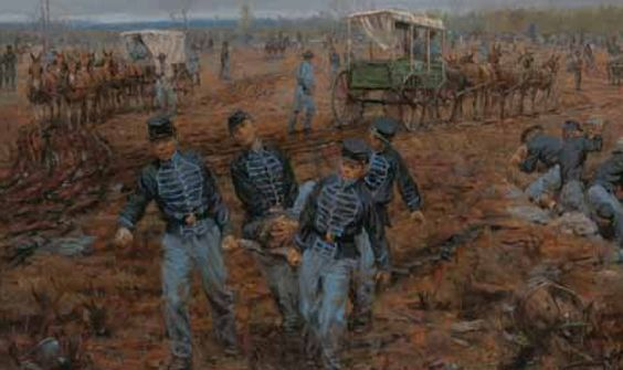 battle of stones river painting of soldiers removing wounded men from the battlefield action. Black Bedroom Furniture Sets. Home Design Ideas