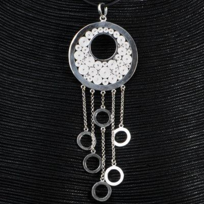 As the other jewels from the same set, this pendant with unique and modern design will delight all women who love classy and contemporary jewels. Don't forget to have a look at our chains made especially for your pendant.