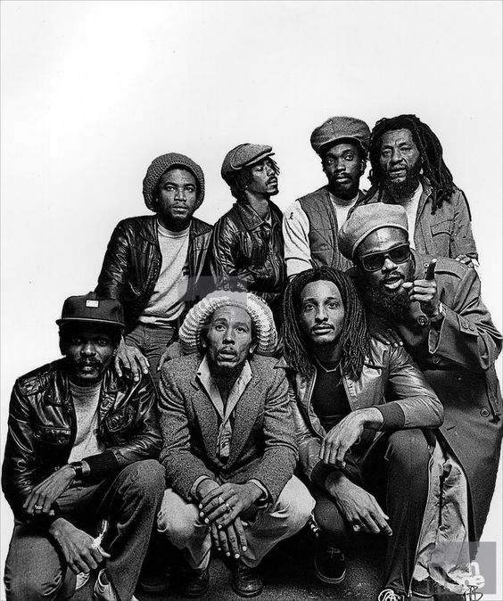 Bob Marley and the Wailers group photo taken at the Kensington Hilton, 1980. Copyright:(c) 56 Hope Road Music. S)