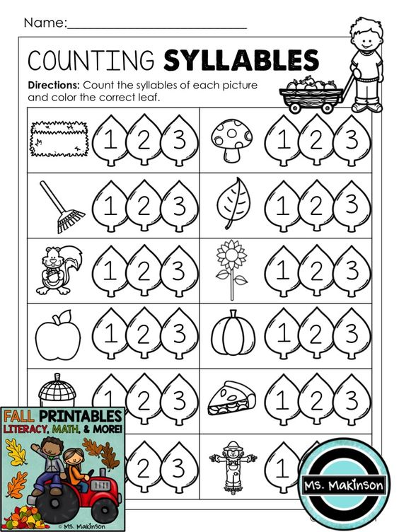 Fall Printables Literacy Math Science – Syllable Worksheets for Kindergarten