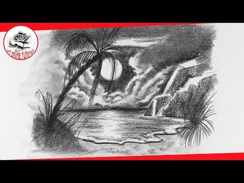 How To Draw A Beach At Night With Pencil Very Easy Youtube Projekte