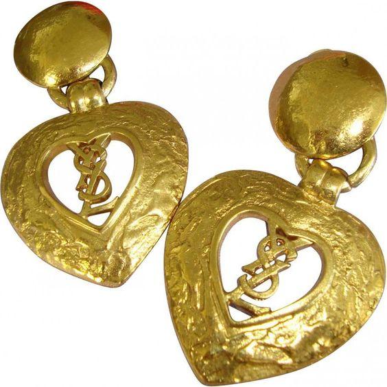 Vintage - Pendants d'Oreilles 'Logo' Coeur - Yves Saint Laurent - Années 90