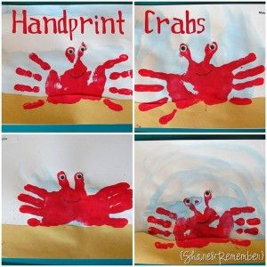 ocean unit preschool: Ocean Theme, Crab Craft, Ocean Craft, Preschool Craft, Handprint Craft, Handprint Crab, Crab Handprint