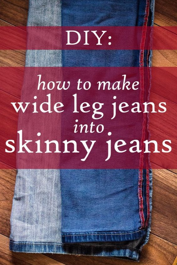 Great instructional on how to make skinny jeans out of old jeans ...