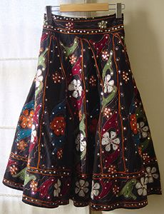 Womens skirt | black embroidered sequin cotton skirt for women from Pink Bamboo Pink Bamboo UK