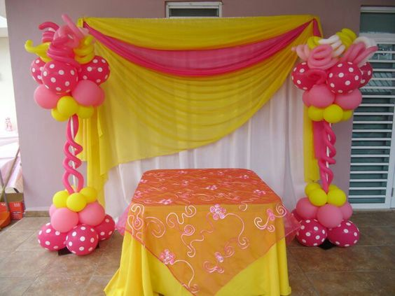 Decoracion con cortinas y globos all events - Cortinas y decoracion ...