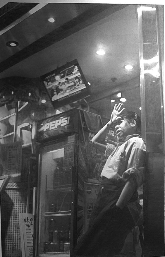 Artist: Paul Lung, Hong Kong {hyperreal figure pencil drawing of boy next to Pepsi machine}