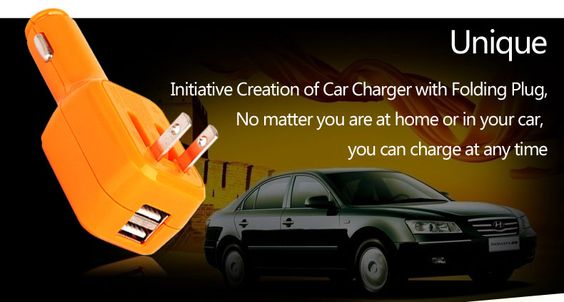 Initiative Creation of Car Charger with Folding Plug! Unique design 2-IN-1 car charger and wall charger.