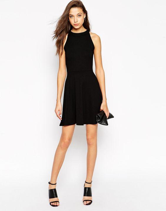 Image 4 ofASOS TALL High Neck Skater Dress