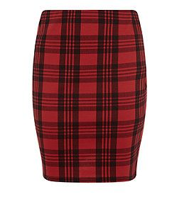 Red Check Tube Skirt  | New Look