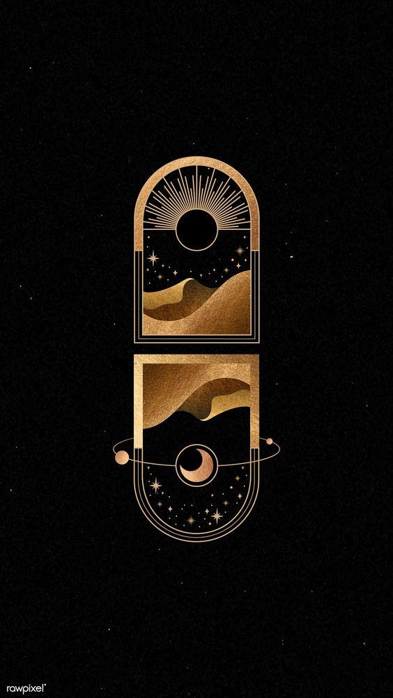 Mystical gold frame on black background mobile phone wallpaper | premium image by rawpixel.com / manotang