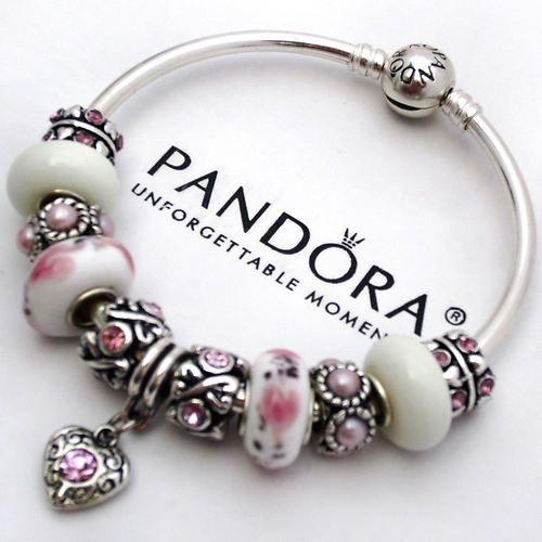 Authentic Pandora Bangle Bracelet Silver Pink White Love Murano Charm Bead | eBay