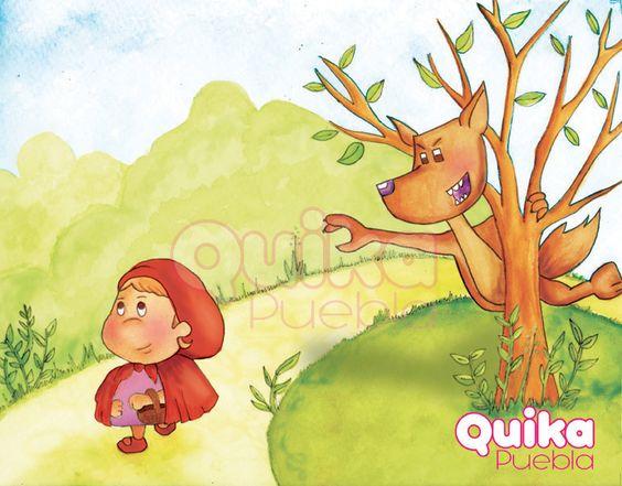 Acuarela y photoshop Caperucita Roja y el Lobo