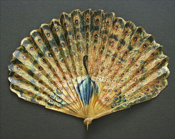 Peacock hand-fan.: