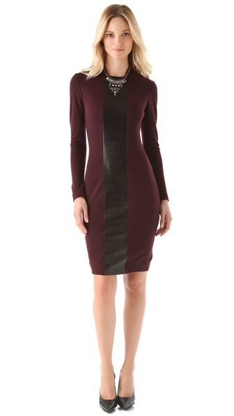 Burgundy is the IT color this fall + leather panel