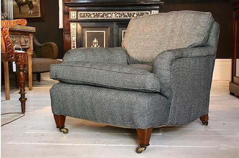 Edwardian Howard armchair in herringbone tweed