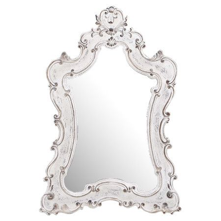 Stunning baroque style wall mirror with an antiqued white for White baroque style mirror