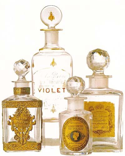 Baccarat cologne and scented water crystal bottles. #vanitydecor