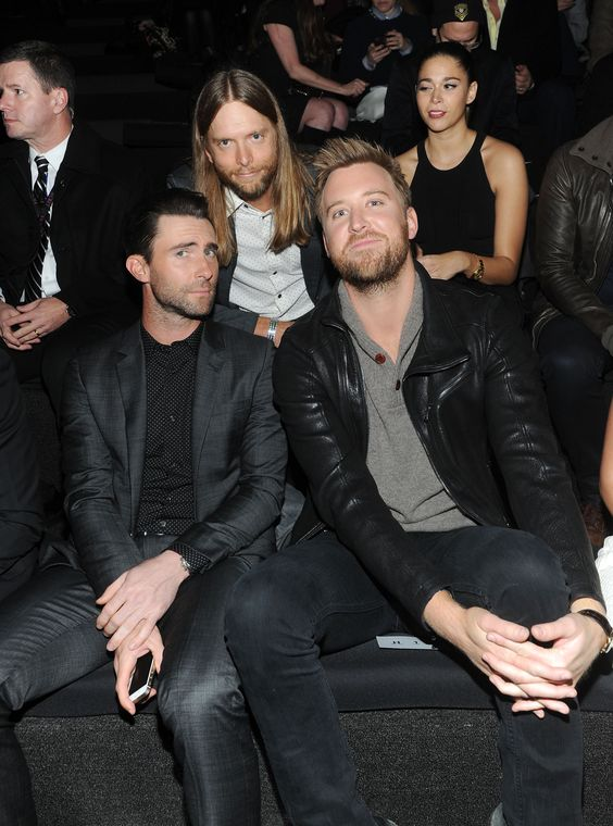 Boys will be boys. Maroon 5's Adam Levine and James Valentine and Charles Kelley of Lady Antebellum enjoy the 2013 Victoria's Secret Fashion Show on Nov. 14 in New York