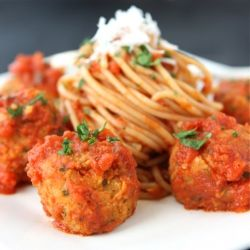 """Cannellini Bean Vegetarian """"Meatballs"""" with Tomato Sauce for this month's Kitchen Play."""