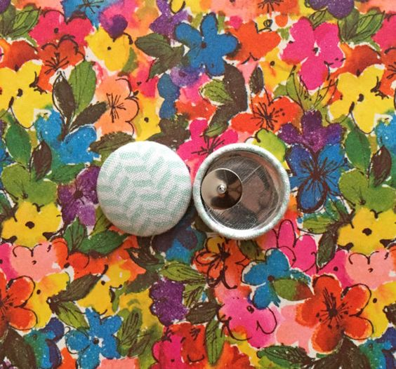 Fabric Covered Button Earrings / Wholesale by ManhattanHippy