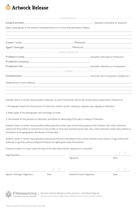film location release template back filmmaking misc - Artwork Release Form