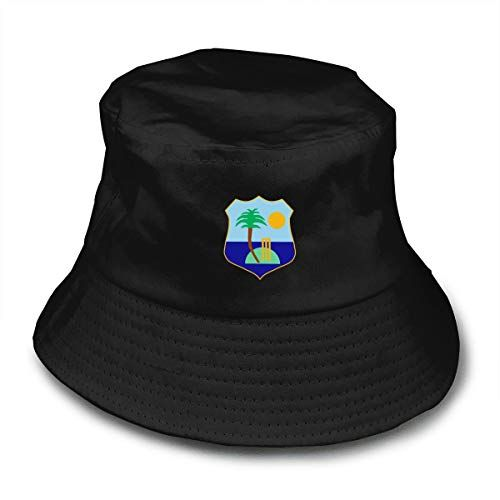 West Indies Cricket Board Flag Unisex Cotton Packable Black Travel Bucket Hat Fishing Cap Black Black Hats Bucket Hat