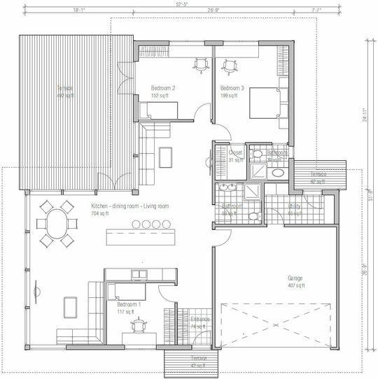 0025plano de casa de 1 piso y 170 metros cuadrados tiene for Planos de casas de un piso