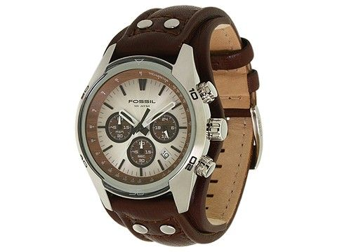 Fossil CH2565 Cuff Chronograph Leather Watch Brown Leather Band/Tan Dial/Wood - Zappos.com Free Shipping BOTH Ways
