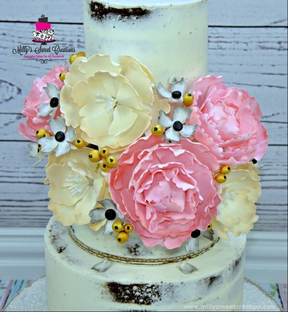 White Shabby Chic Rustic Naked Wedding Cake by Milly's Sweet Creations. www.millyssweetcreation.com